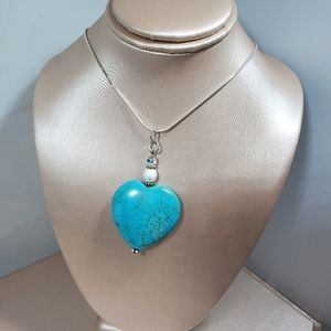 Jewelry - Nwot Turquoise heart pendant w chain